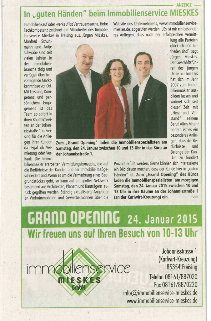 Anzeige Grand Opening